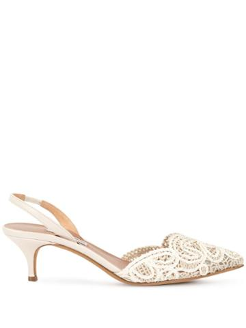 Tabitha Simmons Lace-deatil Pumps - White