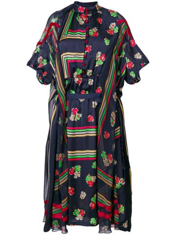 Sacai - Geometric And Floral Print Sheer Dress - Women - Cupro/polyester - 1, Blue, Cupro/polyester