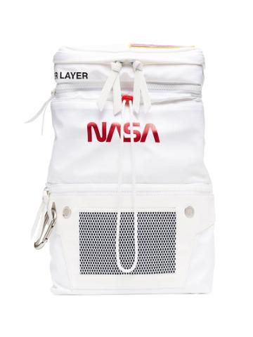 Heron Preston White And Orange Nasa Print Backpack