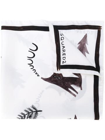 Dsquared2 - Printed Scarf - Men - Silk - One Size, White, Silk