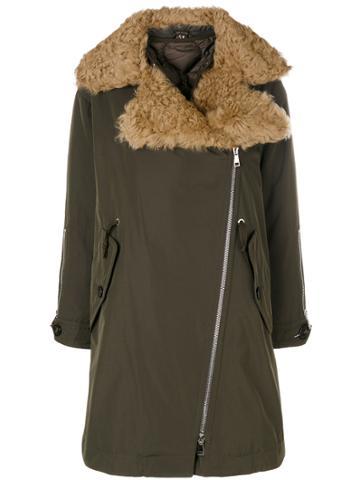 Moncler Shearling Collar Coat - Green
