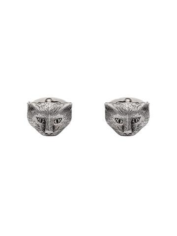 Gucci Gucci Garden Cat Motif Cufflinks - Silver