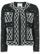 Edward Achour Paris Embellished Pearl Jacket - Black
