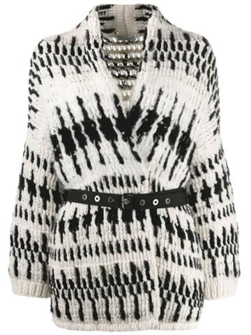 Brunello Cucinelli Belted Two-tone Cardigan - Black