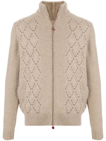 Kiton Textured-knit Cardigan - Brown