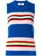 Msgm Contrast Stripe Knit Top