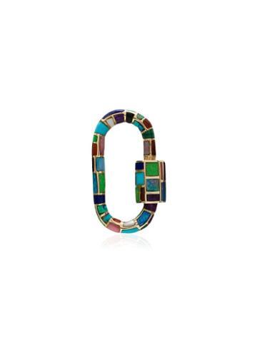 Marla Aaron 18kt Gold Stone-inlay Carabiner Charm - Multicoloured