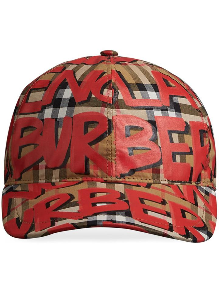 Burberry Graffiti Print Vintage Check Baseball Cap - Red