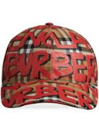 Burberry Graffiti Print Vintage Check Baseball Cap - Red