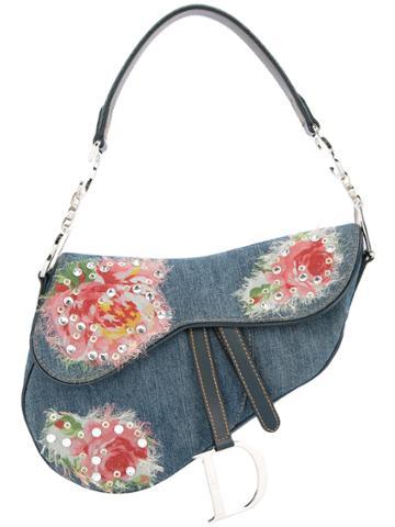 Christian Dior Vintage Saddle Denim Shoulder Bag - Blue