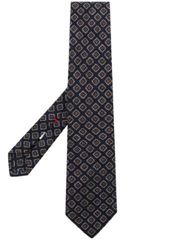 Isaia Print Woven Tie - Blue