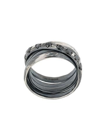 Chin Teo Diamond Cagemini Band Ring - Metallic