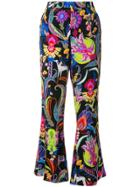 Etro Mixed Floral Print Flared Trousers - Multicolour