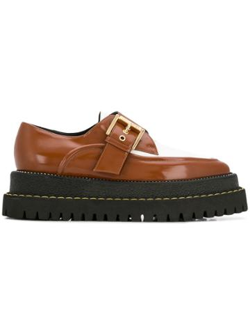 No21 Buckled Brogue Platform Shoes - Brown