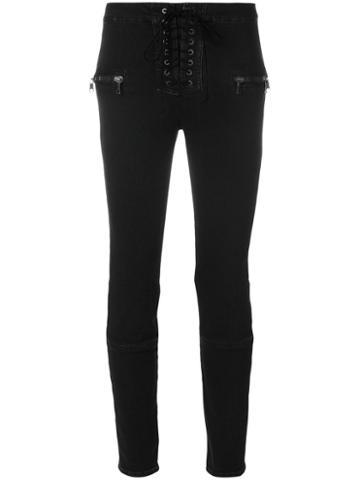 Unravel Project - Lace-up Jeans - Women - Cotton/polyester/spandex/elastane - 29, Black, Cotton/polyester/spandex/elastane