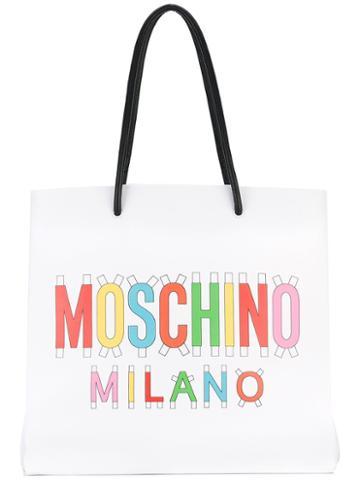 Moschino - Rainbow Logo Tote Bag - Women - Leather - One Size, White, Leather