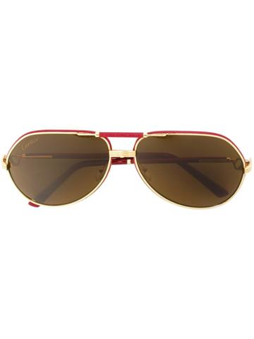 Cartier 'revival Vendome' Sunglasses, Men's, Red, Calf Leather/18kt Yellow Gold