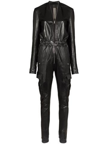 Rick Owens Stretch-leather Jumpsuit - Black