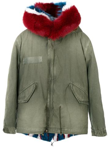 Mr & Mrs Italy - Trimmed Hood Short Parka - Women - Cotton/fox Fur/racoon Fur/rabbit Fur - S, Green, Cotton/fox Fur/racoon Fur/rabbit Fur