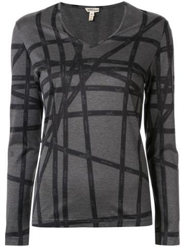 Hermès Pre-owned Striped T-shirt - Grey