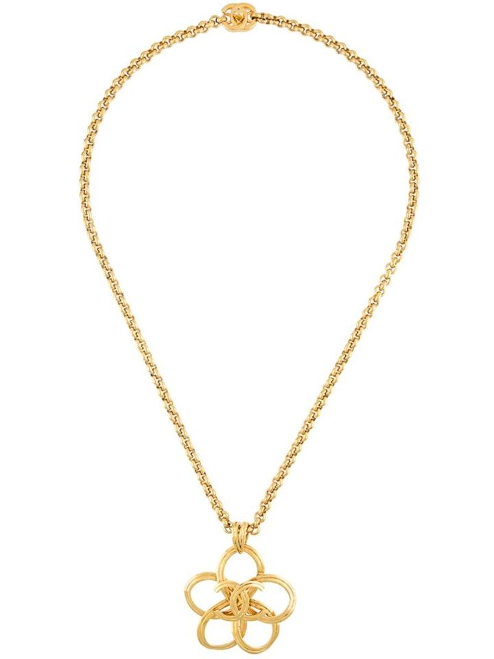 Chanel Vintage 'cc' Floral Necklace, Women's, Metallic