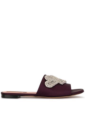 Rochas Crystal-embellished Satin Slippers - Purple