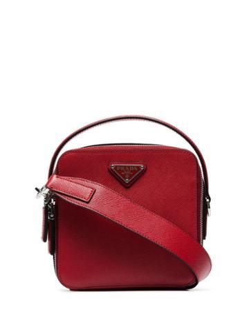 Prada Logo Plaque Messenger Bag - Red