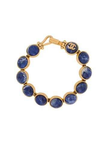 Chanel Vintage Stones Logo Bracelet - Metallic