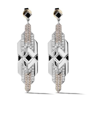 Fairfax & Roberts 18kt White Gold Art Deco Diamond And Onyx Drop