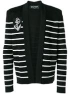 Balmain Striped Cardigan - Black
