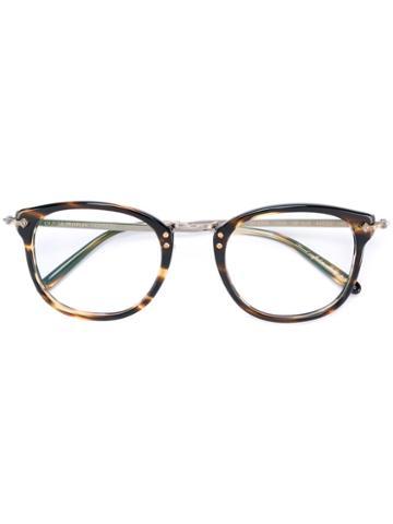 Oliver Peoples Round Frame Glasses, Brown, Acetate/metal