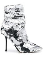 Sergio Rossi Leather Ankle Booties - Metallic