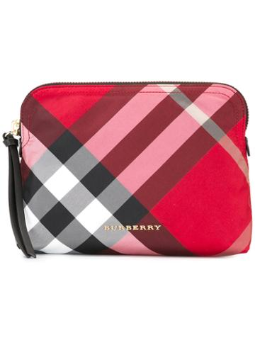 Burberry House Check Clutch, Women's, Red, Polyester/calf Leather