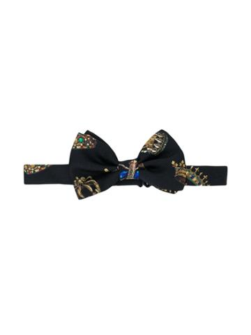 Dolce & Gabbana Kids Crown Print Bow Tie - Black