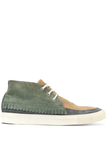 Comme Des Garçons Pre-owned Patchwork Lace-up Sneakers - Green