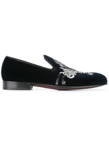 Dolce & Gabbana Velvet Embroidered Slippers - Blue