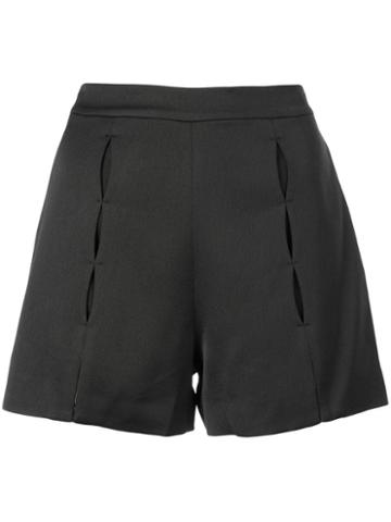 Alexis Pleated Short Shorts - Black