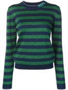 Prada Striped Glitter Sweater - Blue