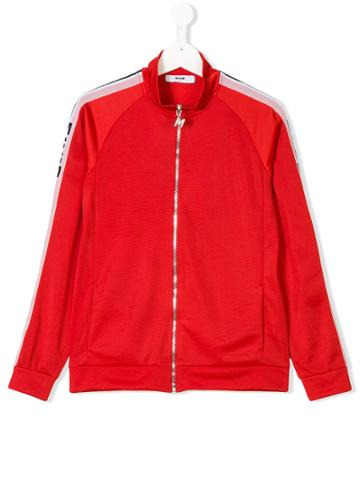 Msgm Kids Teen Logo Tape Tracksuit Top - Red