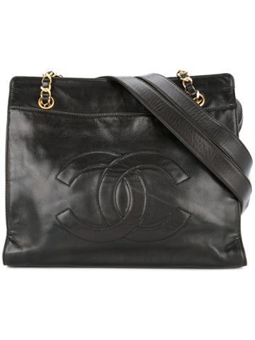 Chanel Vintage Cc Stitch Tote Bag - Black