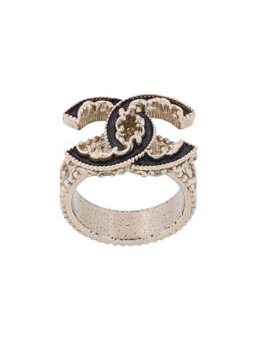 Chanel Vintage Baroque Logo Ring - Metallic