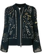 Sacai Pearl Embellished Bomber Jacket - Blue