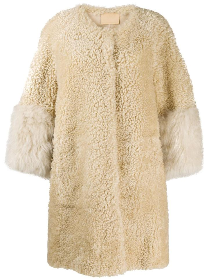 Prada Fur Cuff Teddy Coat - Brown