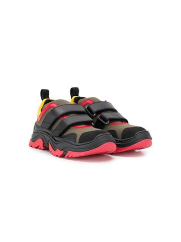 Nº21 Kids Teen Touch-strap Sneakers - Black