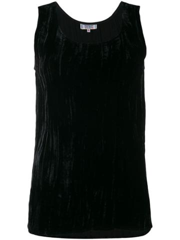 Yves Saint Laurent Pre-owned 1970's Silk Velvet Gathered Tank - Black