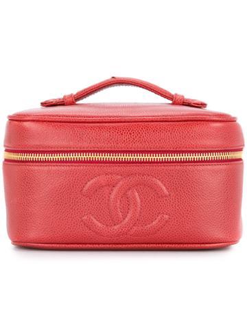 Chanel Vintage Caviar Skin Cc Stitch Vanity - Red
