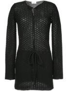 Saint Laurent Waist-tied Embroidered Cardigan - Black