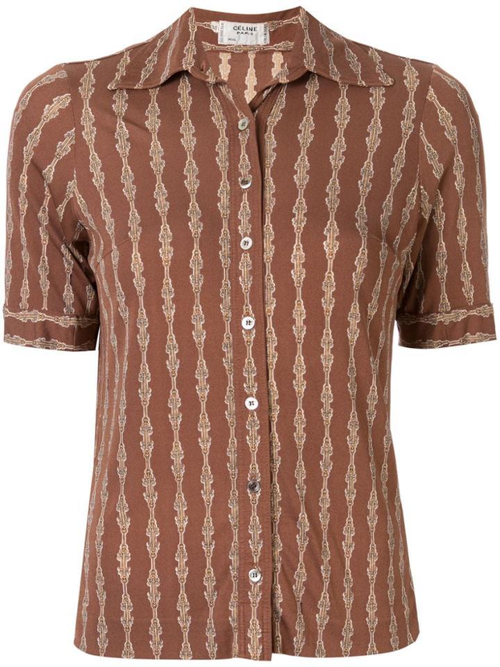 Céline Pre-owned Silk Chain Print Short-sleeved Shirt - Brown