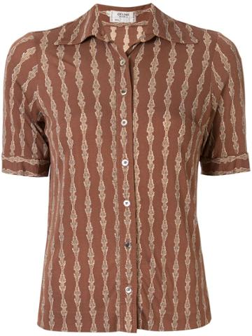 Céline Pre-owned Silk Chain Print Short-sleeved Shirt - Brown