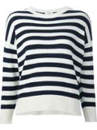 Saint Laurent Striped Knit Sweater, Women's, Size: Xs, White, Cashmere